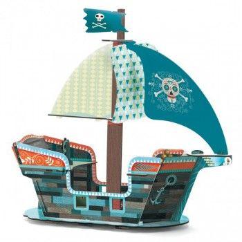 Richtig cooles 3D Piratenschiff, 23 Teile, 47 x 23 x 46 cm, aus Pappe, von Djeco