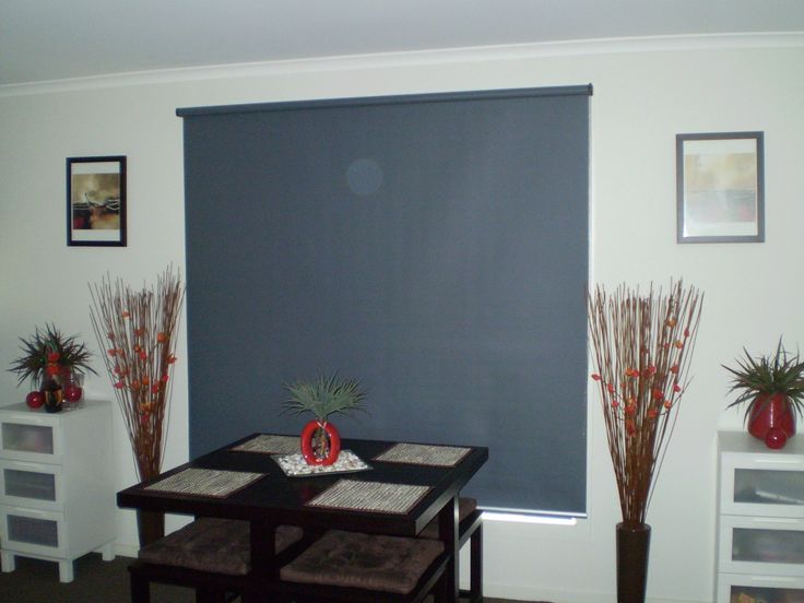 Roller blind or art? Love how this blue blind becomes a feature piece in the home.