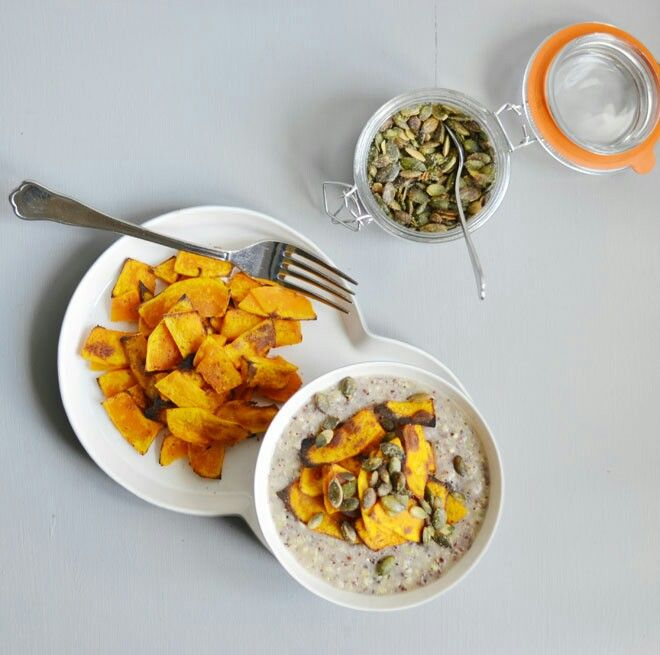 Buckwheat / quinoa porridge with grilled pumpkin topping - glutenfree www.purefoodpassion.com