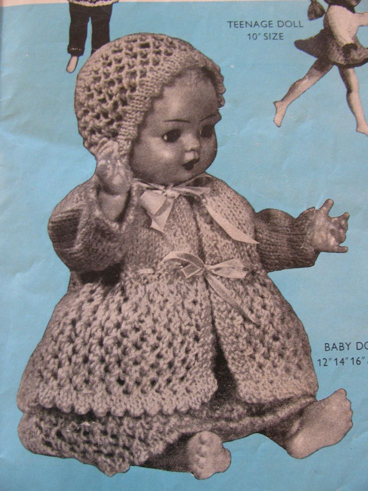 Vintage Doll's Clothes in Double Knitting Knitted Doll's Clothes Patterns 4 sizes PDF Instant Download by TassieVintage on Etsy