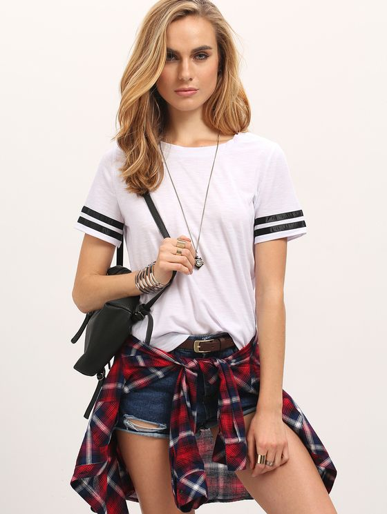 Online shopping for White Crew Neck Black striped Sleeve Casual T-shirt from a great selection of women's fashion clothing & more at MakeMeChic.COM.