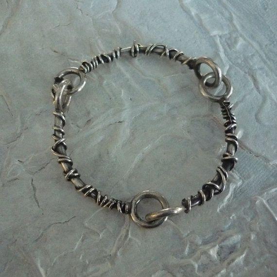 Sterling Silver Bracelet, Silver Wire Wrapped Bracelet, Organic Style Bracelet, Woodland Bracelet, Rustic Bracelet, Oxidized Bracelet K#125 – Joyerías