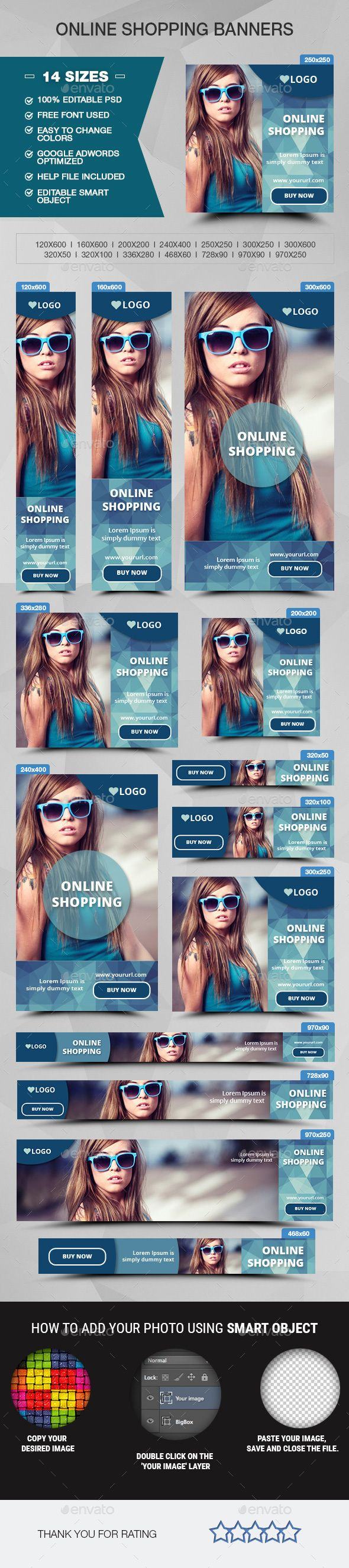 Online Shopping Web Banners Template PSD #ad #promotion #design Download: http://graphicriver.net/item/online-shopping-banners/14278134?ref=ksioks