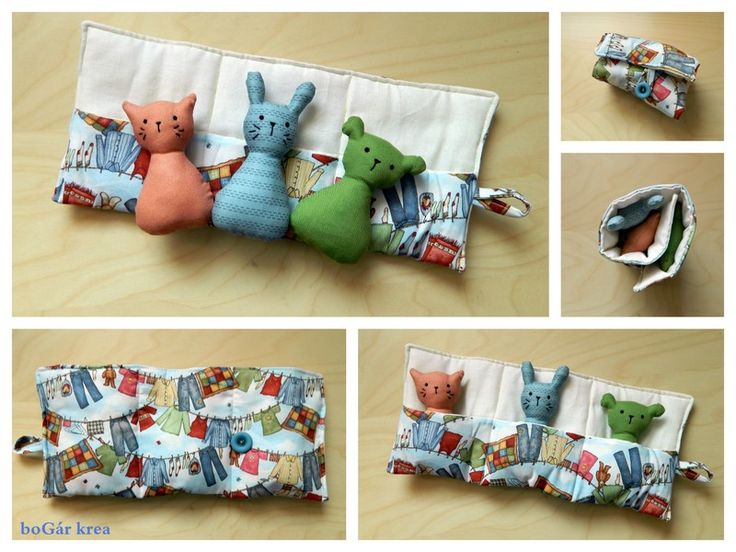cat, bunny and bear with holder, hand made by bogarkrea