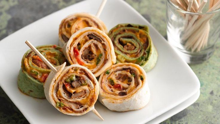 Presented as pretty pinwheels, popular nacho flavors are rolled into soft tortillas and sliced.