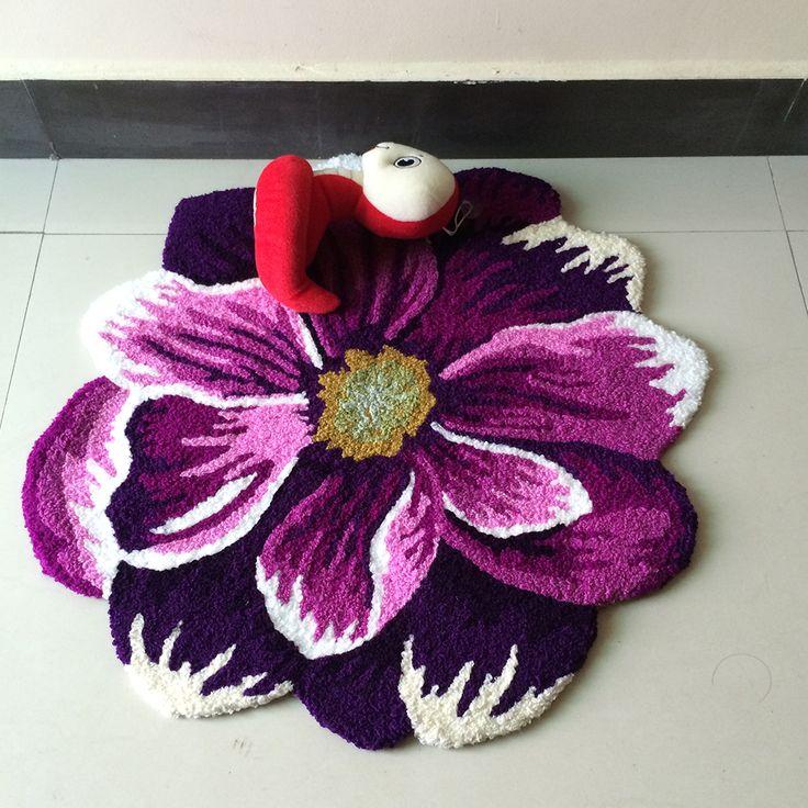 yazi Pastoral Handmade Embroidery 3D Floral Carpet Anti Slip Doormat Water Absorbency Flower Shape Rug Floor Mat Runner #Affiliate