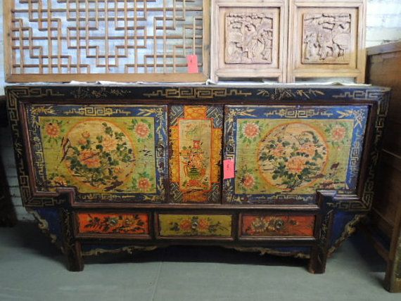 Antique Chinese Storage Credenza In Distressed Multiple Colors Los Angeles  By ModernRedLA, $1870.00