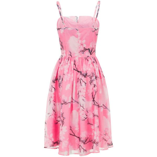 Voodoo Vixen Pink Floral Fit & Flare Dress (157.710 COP) ❤ liked on Polyvore featuring dresses, floral print dress, floral fit and flare dress, pink fit and flare dress, floral dresses and woven dress