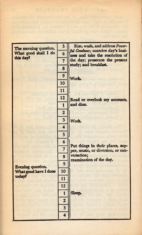 What You Can Learn From Benjamin Franklin's Daily Schedule: Here are a few valuable lessons that we can learn from this founding father's daily routine: finding life balance, valuing time and money, making time for yourself and learning something new everyday. #life #lessons