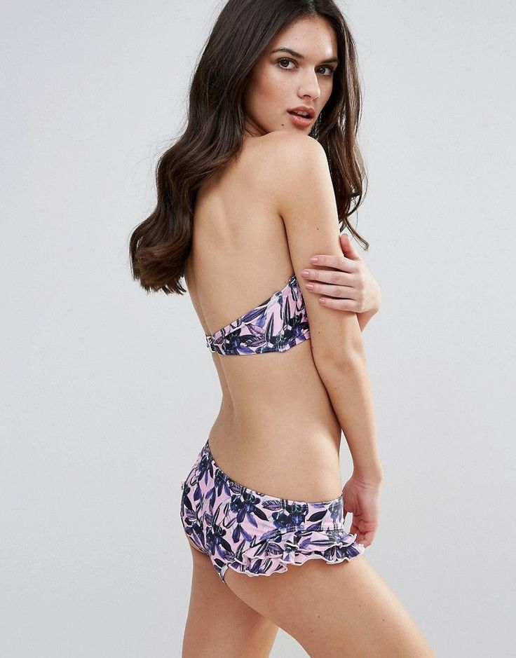 Playful Promises Frill Edge Orchid Floral Bikini Bottoms - Pink