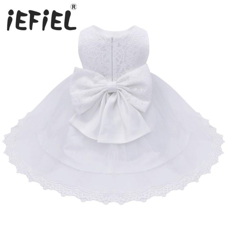 2017 Baby's Elegant Embroidered Lace Christening Baptismal Dress With Bow Sash
