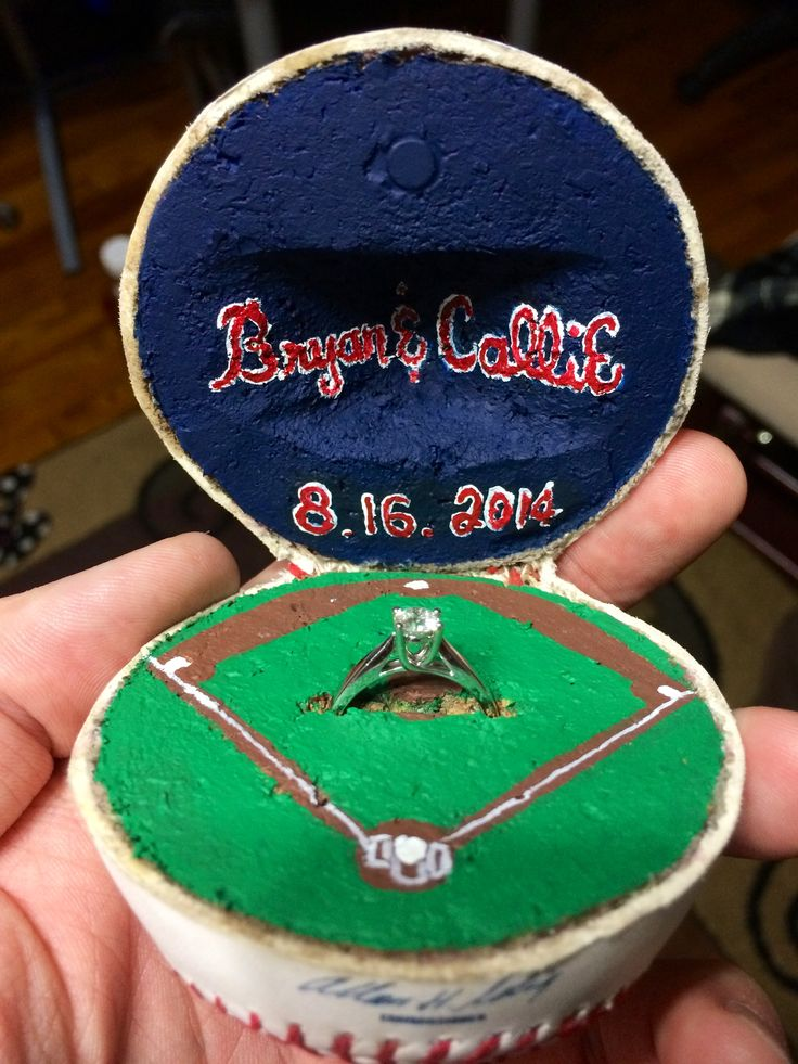 Beautiful ring-holder for a baseball proposal