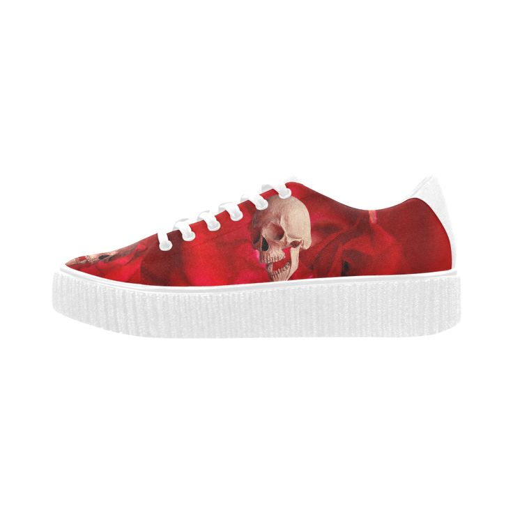 Funny Skull and Rose Pisces Fabric Women Shoes (Model 1306)