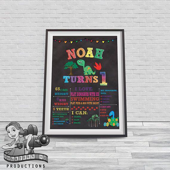 Rainbow Dinosaur Chalkboard Milestone Poster