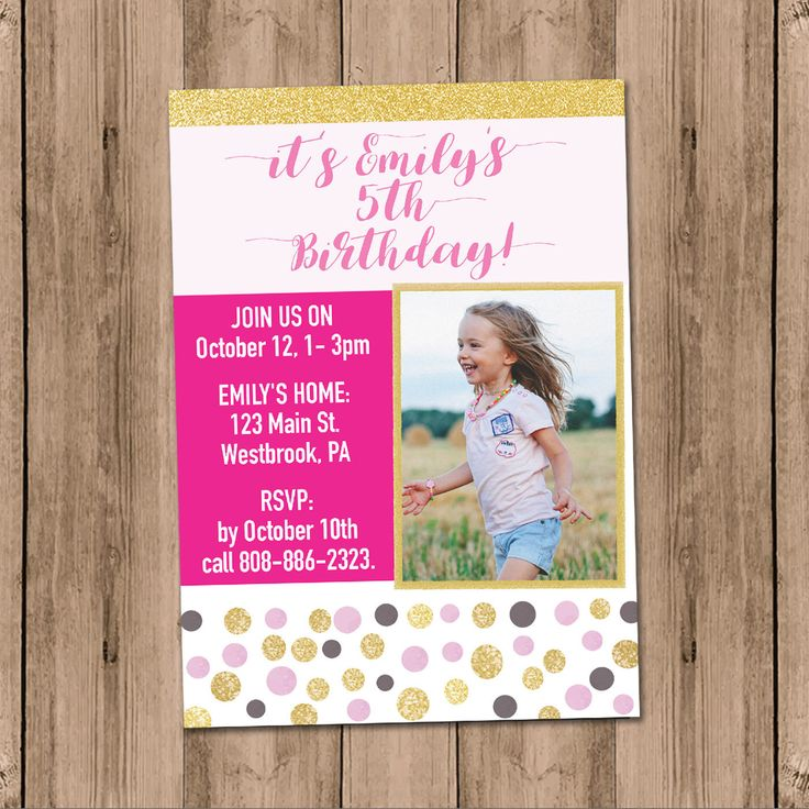 A personal favorite from my Etsy shop https://www.etsy.com/listing/540392038/girl-glitter-invite-gold-and-pink-dots