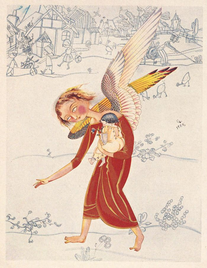 Illustrations by Shigeru Hatsuyama for Thumbelina (and other tales) (Japan, 1925)  (Here: The Angel)