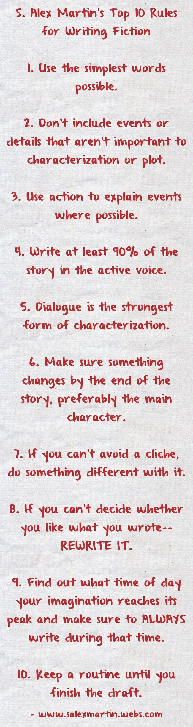 "Daily Writing Prompt: ""Write Your Own Top 10 Rules for Writing Fiction."" #writing"