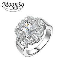 Dudee Jewelry Ring Two CZ two colors wedding engagement jewelry aneis de diamante R1934S