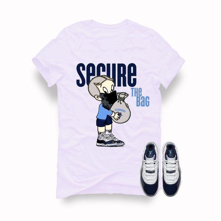 Air Jordan 11 (Midnight Navy) White T (Secure the bag) is a premium quality sneakerhead t shirt. It matches with the Air Jordan 11 (Midnight Navy) Sneakers. *************************************************************** illCurrency is a premium quality c