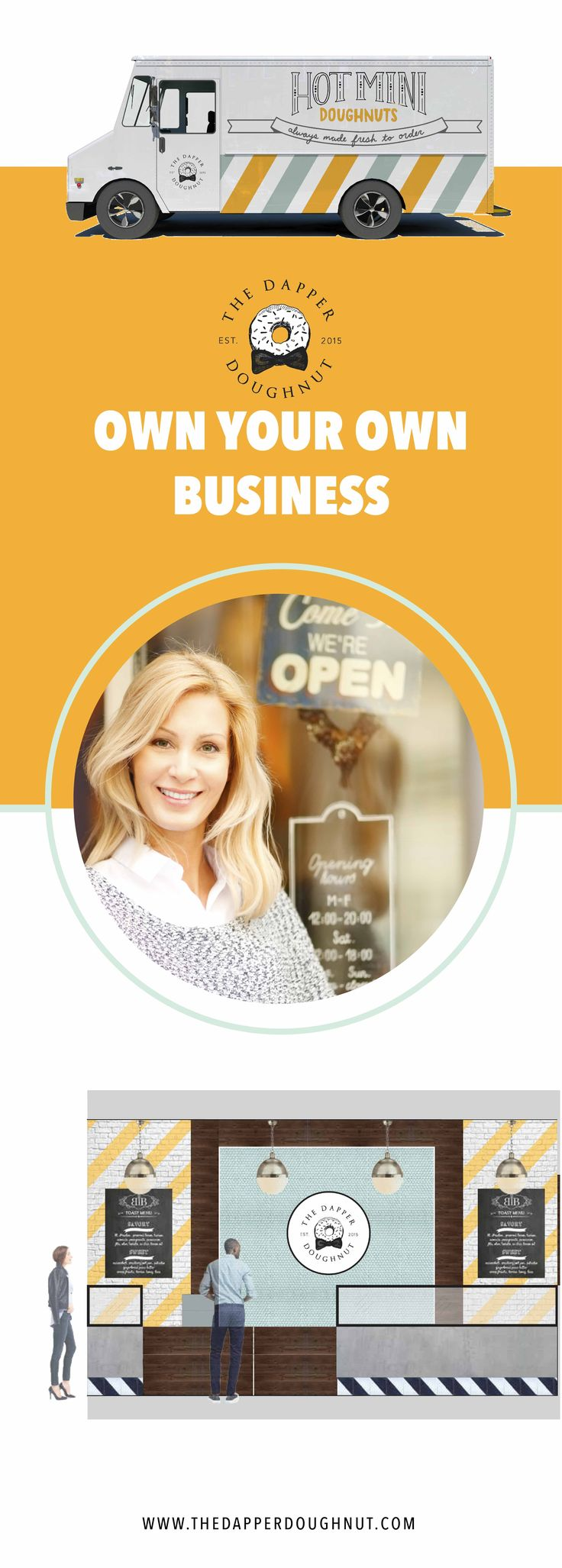 Do you want to own your own business? The Dapper Doughnut is an exciting franchise business opportunity for women in the US. Request more info at: http://dapperdoughnutfranchise.com/franchising-the-dapper-doughnut/ to learn more about this franchise.  You can do a storefront or a food truck and the brand is on point!