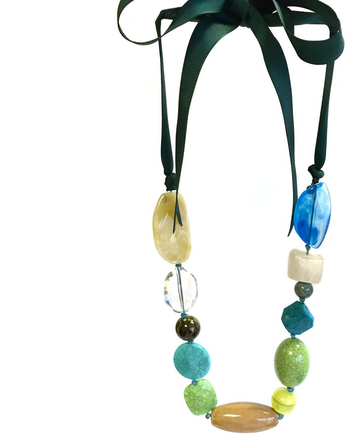 Dorothea - mixed ceramic/acrylic beads on grosgrain ribbon necklace #green #blue #teal #gorgeousgreens #necklace #accessories #onebutton Click to buy from the One Button shop.