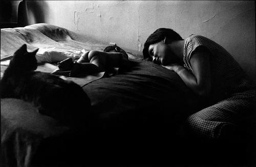 BUENA FOTO DE ELLIOTT ERWIT, de 1953 un auténtico retrato de familia, capta a su mujer, a su hijo desnudo y a su gata, que se integra en esta composición intimista y llena de ternura y belleza.