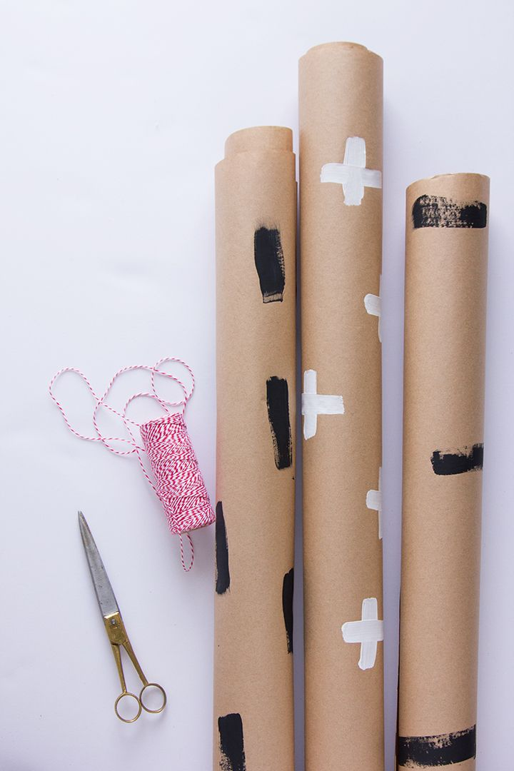 Simple hand painted wrapping paper #handmadeholiday #DIY