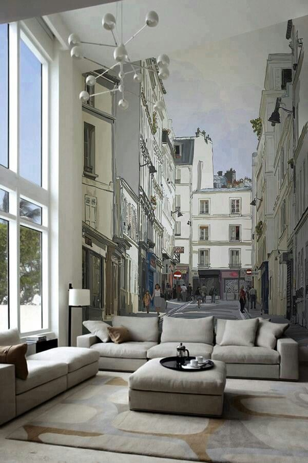 Cityscape in the living room - a great choice of wall art
