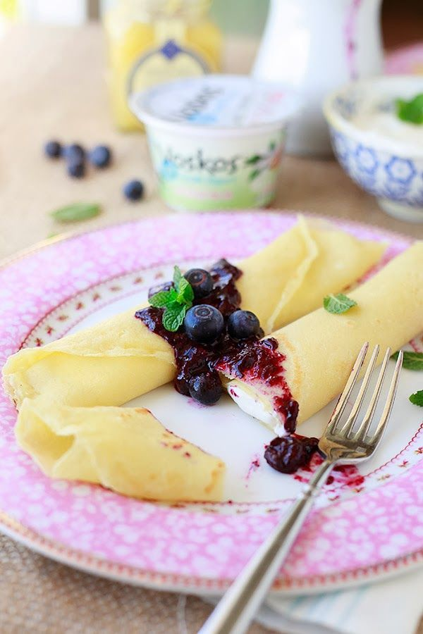 Yummy Recipes: Lemon Crepes with Blueberry Sauce and Greek yogurt recipe