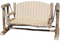 Outdoor Glider in Natural Panel & Natural Log; Rustic, Cabin, Lodge, Western, Southwest Furniture; The Refuge Lifestyle