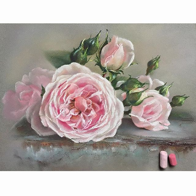 Розы#пастель #рисуюпастелью #цветыпастелью #розы #цветы #softpastel #softpastels #cansonpaper #canson #flowers #rose Thank you for the inspiration @still_life_gallery_