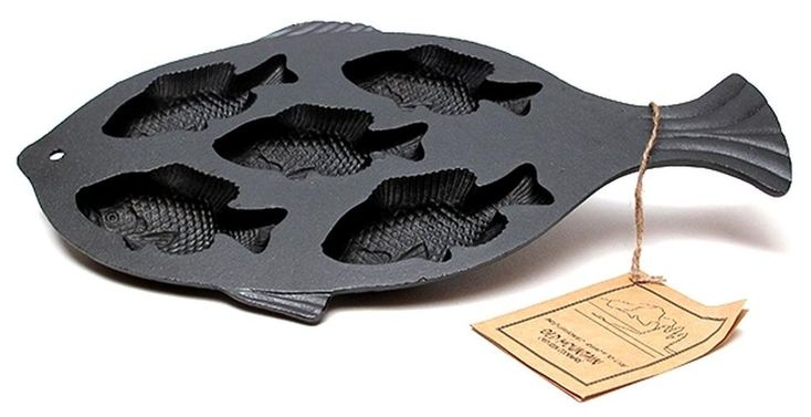 Old Mountain Cast Iron Preseasoned Fish Cornbread Pan #panfishrecipes