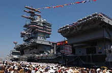 Commissioning ceremony of USS Ronald Reagan, 2003-  watched my Dad escort Nancy Reagan. He was CMC when it commissioned. A VERY proud moment in my life as a Navy Brat;)  Stolen from my sister-we were in that crowd and completely in awe of the history we witnessed.