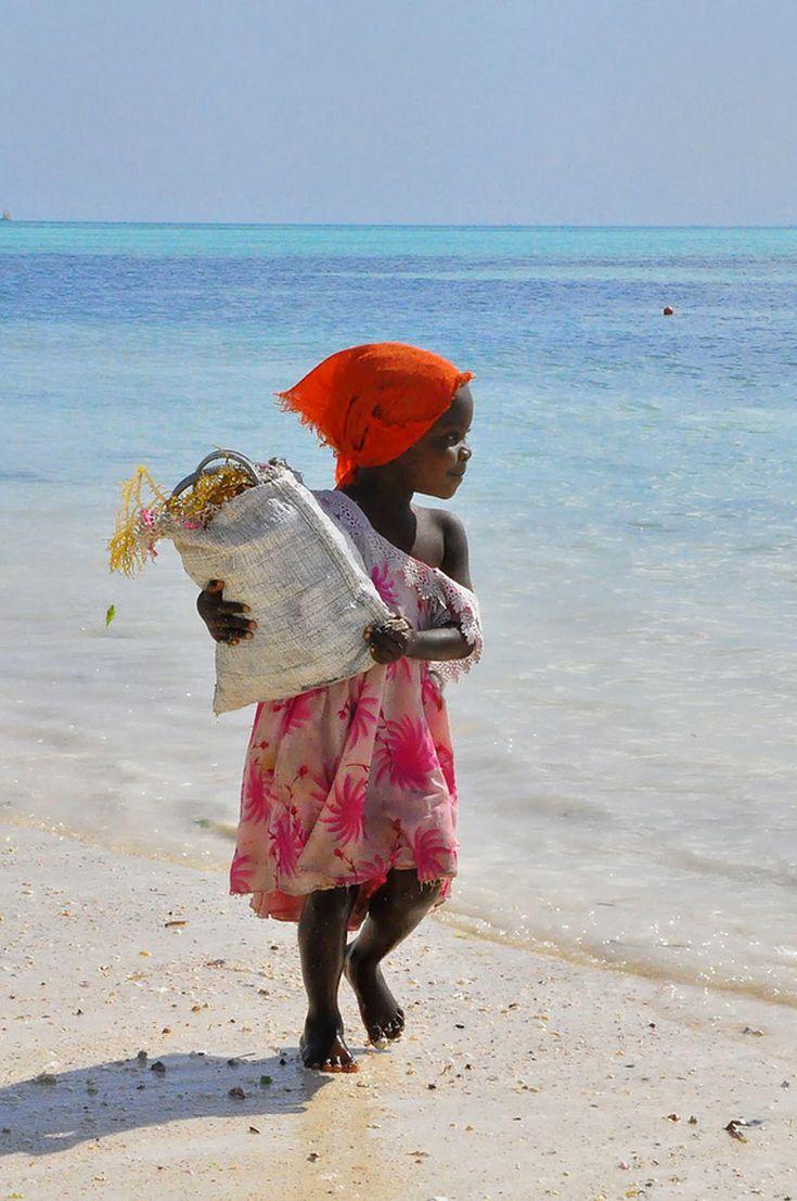 "Africa | ""The Seaweed Collector"".  Zanzibar. | ©Rod Waddington."