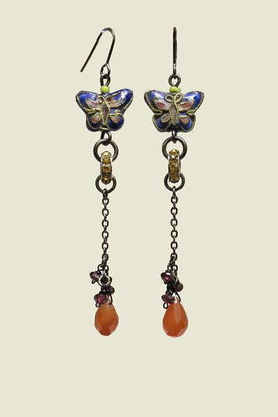 Cloisonne Butterfly Drop Earrings with Swarovski crystal rondells, faceted carnelian teardrop beads, with tiny faceted garnets. www.carolinetrask.com