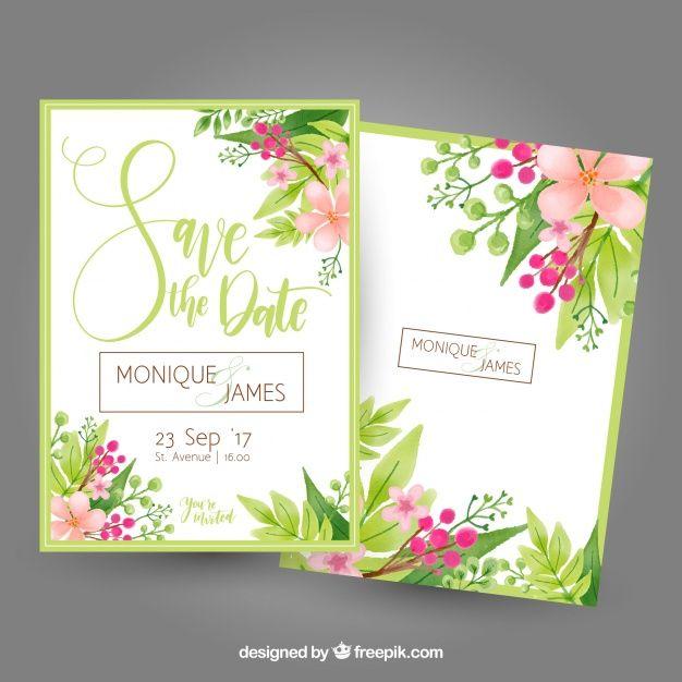 Tarjeta de despedida de soltera con flores y hojas  Vector Gratis