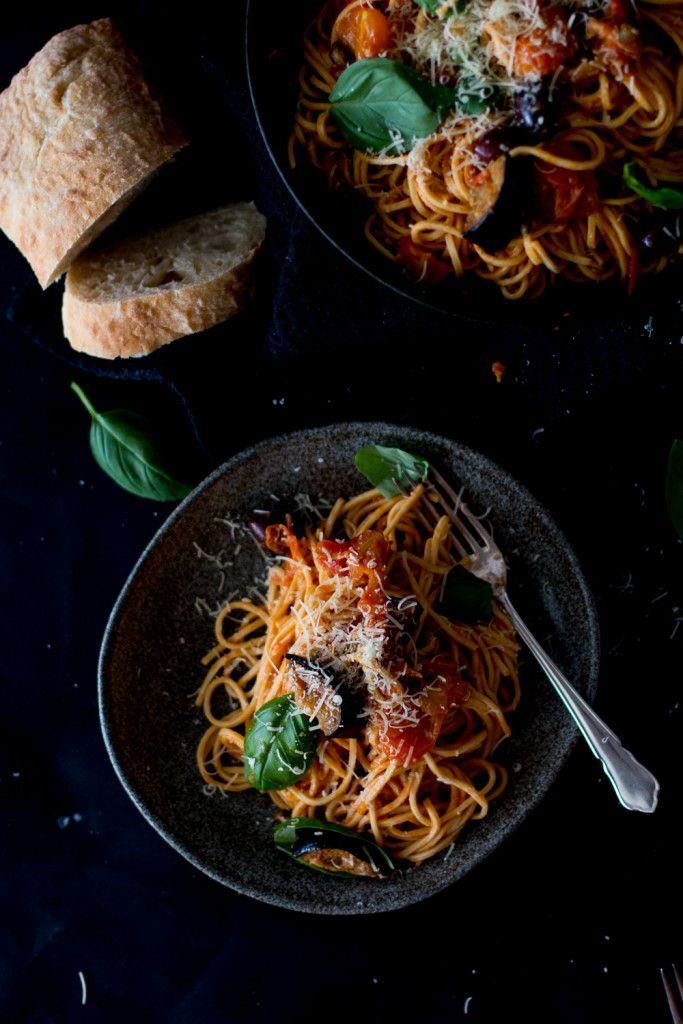 Roasted Tomato & Eggplant Pasta Puttanesca - THe Brick Kitchen