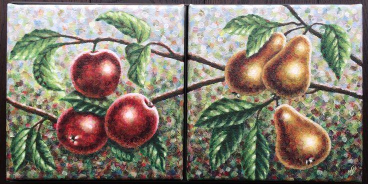 Tweeluik/Diptych Appels & Peren / Apples & Pears, 2x20x20cm, alkyd oil on canvas - www.straverf.nl