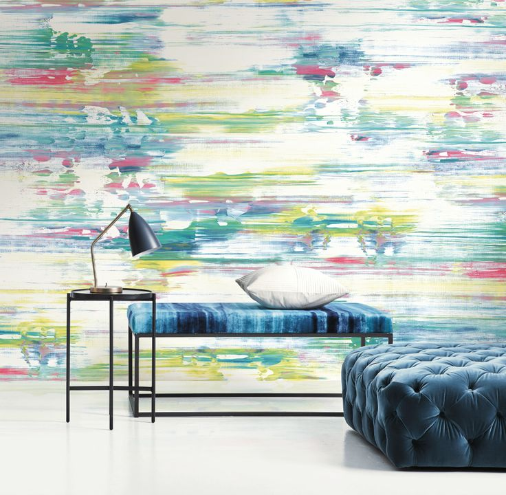 Colorful Watercolor Brushstroke Mural. From Wallquest's L'Atelier de Paris Collection