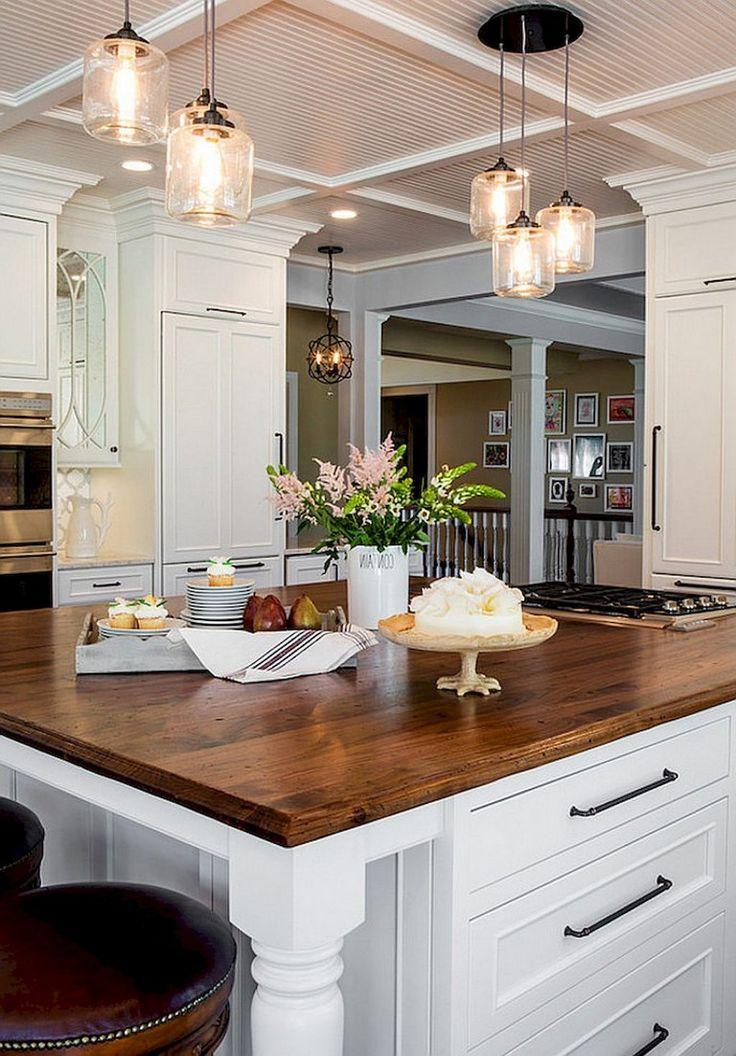 60 Best Farmhouse Style Kitchen Islands Design Ideas Kitchen Farmhouse Kitchen Lighting