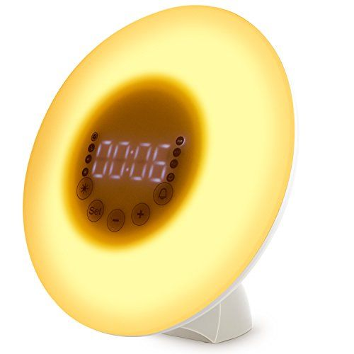 Wake Up Light with Sunrise Simulation Alarm ClockMultiple Colored Bedside SunlightTouch Control Digital Kids alarm clock