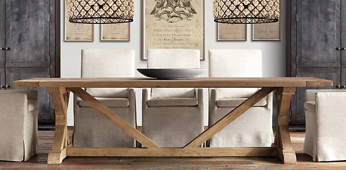 Salvaged Wood X Base Table Restoration Hardware You