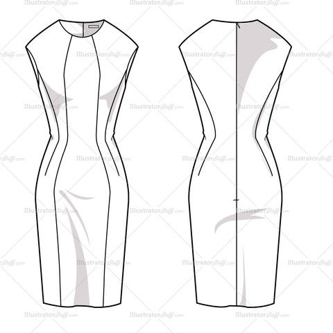 Women's Sheath Dress Fashion Flat Template