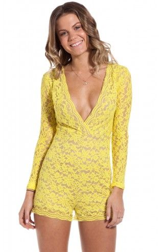 Clementine playsuit in yellow lace