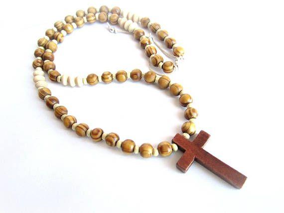 Men cross necklace wood beige wood beaded necklace men cross
