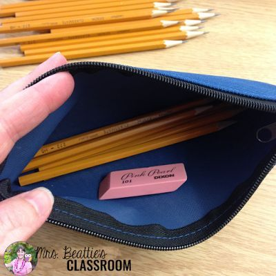 Pencil management strategy for Teacher Tips Tuesday on Mrs. Beattie's Classroom blog!