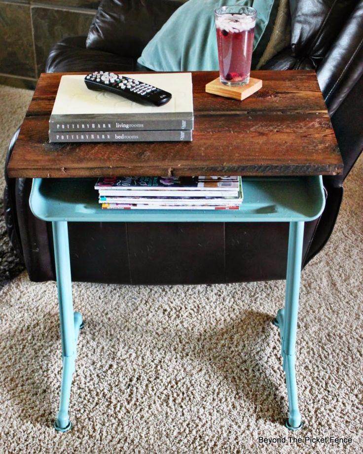vintage school desk end side table