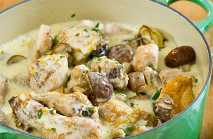Krämig kycklinggryta med grov senap, vit balsamvinäger och dragon | Allt om Mat