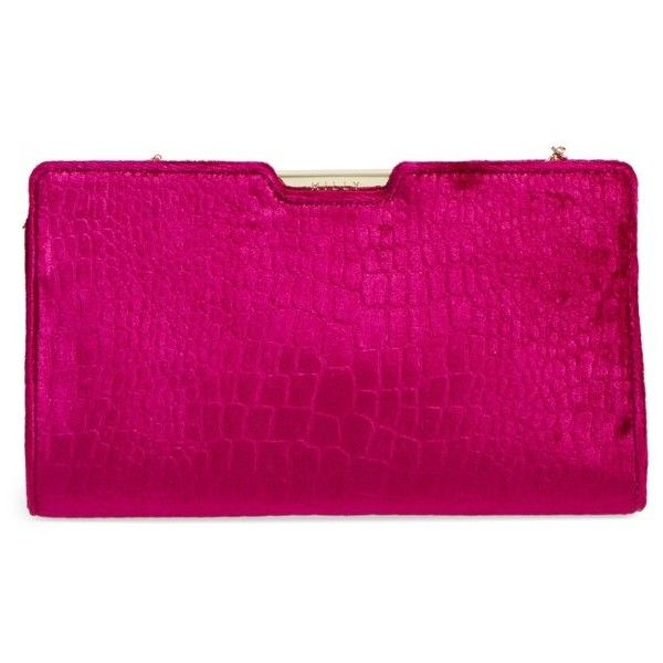 Women's Milly Croc Embossed Velvet Frame Clutch ($255) ❤ liked on Polyvore featuring bags, handbags, clutches, plum, party handbags, party clutches, pink handbags, pink clutches and velvet clutches