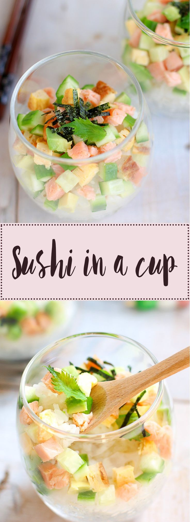 This Super Simple Sushi In a Cup recipe is an extremely simple and quick alternative to regular rolled sushi. It's also very versatile and tastes delicious!